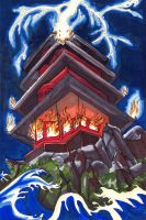 Kitsune Tarot: 16- The Tower by nonanut