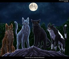 Crookedstar, Bluestar, Nightstar and Tallstar by Vialir