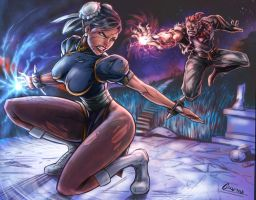 Chun li vs Akuma by belgerles