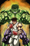 Marvel Vs.Capcom Hulk n Ryu Fighting Games Elite by brianb3x