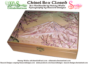 Handmade Chisel Box - Outside Pyrograph by snazzie-designz