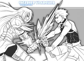 Sigfried vs Archer by skyraptor