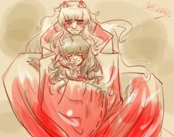 Quick Inuyasha sketch: Cuddle time by unknownpicture