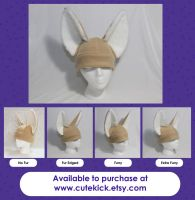 Furry Eared Fennec Fox Hat by cutekick