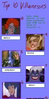 Top 10 Villainesses Meme by writemaster93