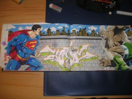 Superman VS Doomsday graffiti by NR83