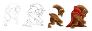 The Beast: Digital Painting Stages by Queen-Of-Cute