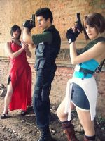 Ada Wong, Jill Valentine and Chris Redfield by selenevamp