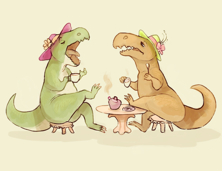 Tea Rexes by starsweep