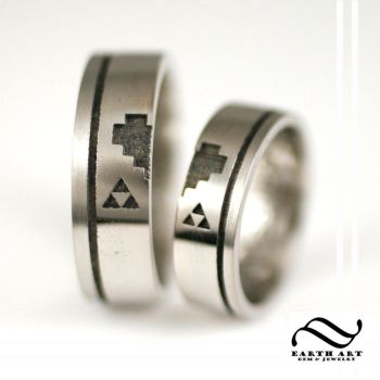 His and Hers Palladium Gamer Rings by mooredesign13