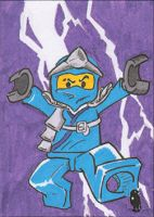 Sketch card - LEGO Ninjago Jay by PlummyPress