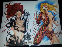 She-Carnage and She Venom by derhenker13