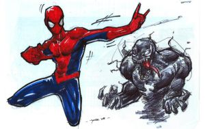 spidey and venom by yosse