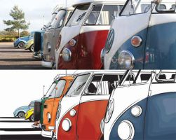 VW Campers and Beetles by flatfourdesign