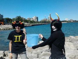 Sollux, Bucket, and Gamzee by SilentSilverScenery