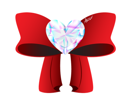 Crystal Heart Bow: flat tails by DrawDesign