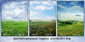 Summer Fields Premade Backs Premium by frozenstocks