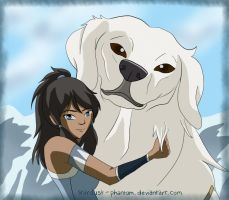 Korra and Naga by Stardust-Phantom