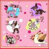 6 Free DtA Sugar Adoptables CLOSED by Electric-Mongoose