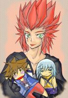 Kingdom hearts-Axel and chibi- by crocell
