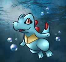 Totodile in the Ocean by TamaGoh
