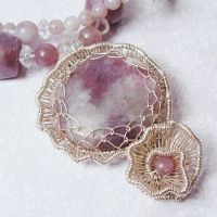 Lepidolite and Quartz Necklace by Gailavira