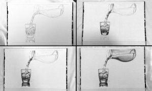 Drawing pencil progress pouring a glass of water by byMichaelX