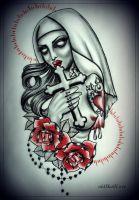 TATTOOED ZOMBIE NUN tattoo design by oldSkullLovebyMW