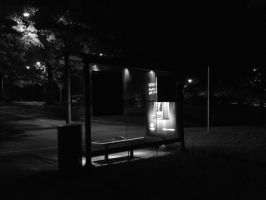 Bus Shelter Noir - Black and White by wiebkefesch