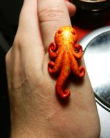 Orange Octopus ring by PoisonJARCreations