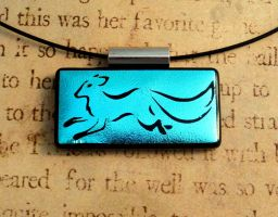 Calligraphy Fox Run Fused Glass Pendant Blue by FusedElegance