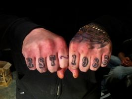 Finger writing tattoo Est 1985 3D by CalebSlabzzzGraham