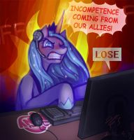 MLP-angry Luna gamer by pmo0908