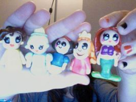 Polymer clay disney princesses by muffinthehamster11