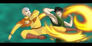 Aang vs. Zuko - colored by Rocul