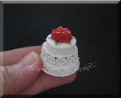Miniature 2-Tier Wedding Cake by ToothFairyMiniatures