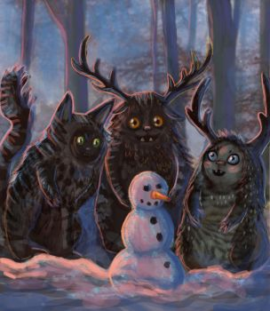 Forest Spirits discover a snowman by Cinder-Cat