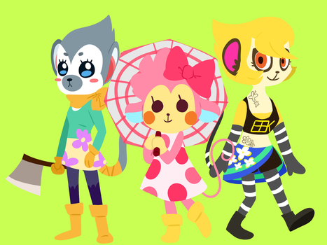 ACNL Monkey Villagers but re-imagined by Jade by Pansearific