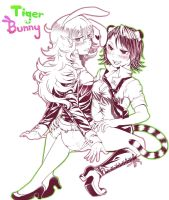 Tigerrrr and Bunny by goldfishu