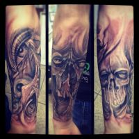Start of a sleeve skull and eye freehand by A-I-M-L-ArtIsMyLife