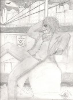 The Joker looking out window by LlovesHalo