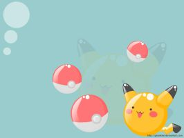 Pikachu + Pokeballs Wallpaper by glasskiwi