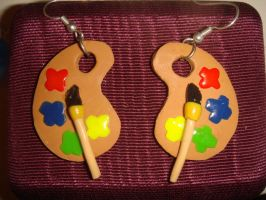 Paint Palette Earrings by KittyAzura