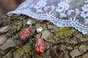 Red Opal With Green Swarovski by artistiquejewelry