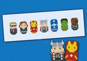 Mini People - Avengers cross stitch pattern by cloudsfactory