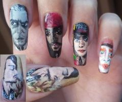 Johnny Depp nail art by amanda04