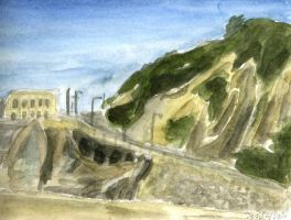 Cliff Watercolor by tomato-bird