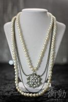 Vintage Style Starburst and Pearls Necklace by shoudoumagic
