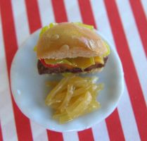 TGIF Burger with Fries Dollhouse Mini by MyLitteLunchBox