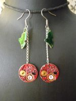 Steampunk cherry earrings by lollollol2